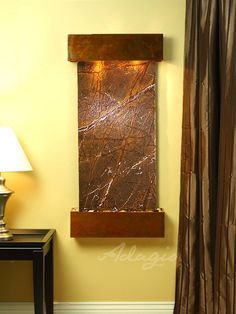 The Cascade Springs Collection offers the tranquility of water in motion falling over a beautiful Natural Slate, Marble, Featherstone, or Mirror surface. Copper And Marble, Green Copper, Green Marble, Modern Fountain, Indoor Water Features, Water Walls, Interior Walls, Outdoor Walls, Wall Lights