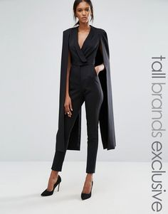 c4288c4778f Lavish Alice Tall Wrap Front Jumpsuit With Cape Back Detail Prom Jumpsuit
