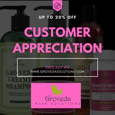 We are excited to announce that we are offering 20% off for customer appreciate until July 4th! Visit our website now and order we are in stock!!! Www.grovedasolutions.com Natu Hair, Curly Hair Styles, Natural Hair Styles, Fast Hairstyles, Customer Feedback, Customer Appreciation, Hair Growth Tips, Beauty Quotes, Damaged Hair