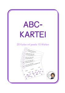 ABC-Kartei – Unterrichtsmaterial im Fach Deutsch Alphabet, Writing Words, Index Cards, School Stuff, Teachers, Letters, Deutsch, Teaching Resources, Primary School