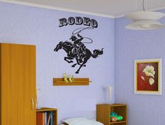 Wall Vinyl Decal Sticker Bedroom Decal Decal Cowboy Lasso Noose Rodeo Horse z411