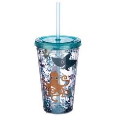 Fun for all the family at home, work or on holiday, our range of reusable double walled cups keep cold drinks cold. Printed with fun designs they are colourful and practical and come with a lid and reusable straw. Each cup holds 500ml. Our double walled cups keep cold drinks cooler for longer and are not suitable for use with hot liquids. The straw is not recommended for children under 5. Dimensions: Height 16cm Width 10cm Depth 10cm Straw Length 23cm (approx 6 x 4 x 4 inches; straw 9… Fun Drinks, Cold Drinks, Tea Benefits, Funky Design, Sea Creatures, Cool Designs, Pure Products, Cool Stuff, Cups