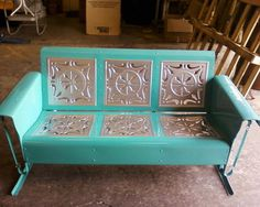 Vintage Metal Glider Three Seat Teal And Gold