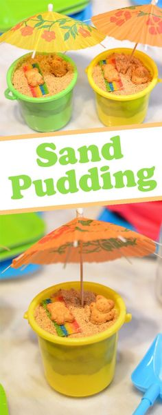 Splash into summer with sand pudding made with crushed cookies and vanilla pudding! This tasty sand dessert is perfect for your beach themed birthday party, luau or pool party. What& not to love about this fun kids snack! Luau Snacks, Kinder Party Snacks, Birthday Party Desserts, Snacks Für Party, Fun Snacks For Kids, Kids Meals, Birthday Kids, Beach Themed Desserts, Beach Theme Snacks