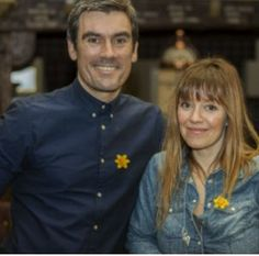 Emmerdale actors Jeff Hordley and Zoe Henry pictured together wearing daffodils for the Great Daffodil Appeal