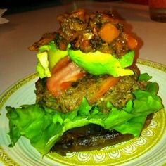 No recipe here but great diet food inspiration!  Paleo Burger. Grilled portabella mushroom as the bun, lettuce burger, tomato, avocado, carrot and bell pepper hash. Nom, nom, nom!!