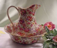 """Royal Winton """"Summertime"""" Chintz Pitcher and Bowl SET (also available in Welbeck, Florence, Julia, Royalty, Stratford, Marion, Richmond, Old Cottage, Blue Welbeck and Blue Cottage--$191.95)"""