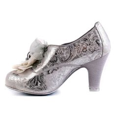 Irregular Choice Milk Mint ❤ liked on Polyvore featuring shoes, pumps, heels, silver heel pumps, silver high heel pumps, flower print shoes, floral print shoes and floral print pumps