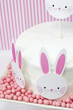 FREE Easter printables ~ Easter bunny face + ears from thecelebrationshoppe.com ~ Download now!