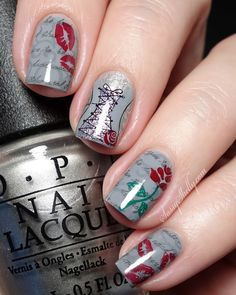 Valentines Day Nails - Fifty Shades inspired triple stamping nail design  | Sassy Shelly   #nails #nailart #ValentinesDay