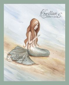 White Pearl  Mermaid Print from Original Watercolor Painting by Camille Grimshaw