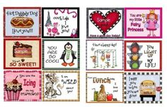 Lunch Box Notes or Backpack Notes for Kids Girls  Set by marciakm2, $4.50