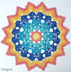 This crochet colourfull doily is exactly 17 rounds. The materials which are needed have a size 10 thread of your choice in 6 beautiful colours and a mm crochet hook. The full article with the lin Free Crochet Doily Patterns, Crochet Art, Crochet Home, Thread Crochet, Crochet Motif, Crochet Crafts, Crochet Doilies, Free Pattern, Crochet Projects