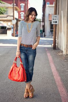 Boyfriend jeans, striped top, bright bag, neutral sandals.  Must copy ASAP!    7.30.12b by kendilea, via Flickr