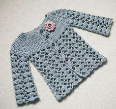 Ravelry: Sweet Little Cardigan pattern by Mon Petit Violon Crochet Girls, Crochet Baby Clothes, Crochet For Kids, Free Crochet, Unique Crochet, Crochet Dresses, Easy Crochet, Gilet Crochet, Crochet Cardigan Pattern