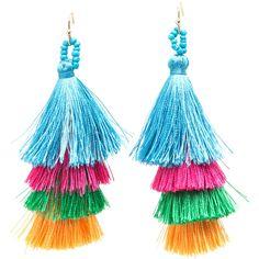 Taken By Tassels Textured Earrings ❤ liked on Polyvore featuring jewelry, earrings, tassel jewelry, fringe tassel earrings, earring jewelry, tassle earrings and tassel earrings