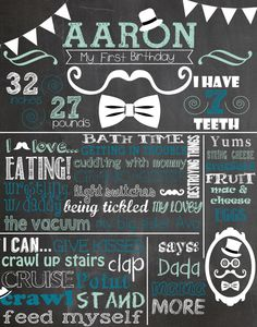 Custom First Birthday Colored Chalkboard Poster/ by MJNDoodles, $25.00