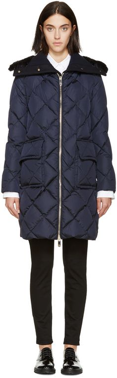Image of Moncler Navy Down and Fur Diamond Breeze Coat