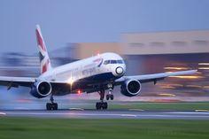 British Airways Boeing 757 landing at London Heathrow Airport UK