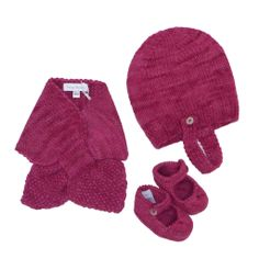 Fanny Belette - Baby Hat, Scarf, and Booties Set, Rasberry – FANTASERINI