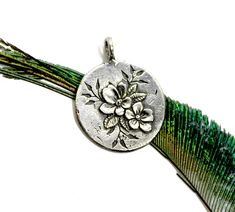 Silver Cherry Blossoms, Silver Tiger Pendant, Cherry Blossom, Silver Medallion, Gold Disc Layering Necklace