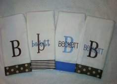 Brown Chocolate Blue Polka Dots and Stripes Burp by Carabellas, $32.00