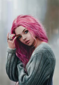 Girl with pink hair and grey sweatshirt illustration art Character Inspiration, Character Art, Girly M, Digital Art Girl, Realistic Drawings, Female Art, Girl Hairstyles, Latest Hairstyles, Amazing Art