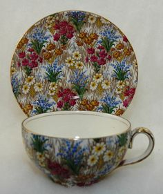 Vintage English Chintz Royal Winton 'Marguerite' Gentleman's Cup Saucer - 1930's