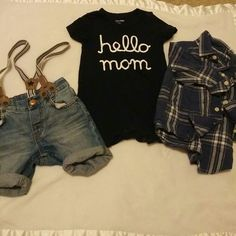 2 outfits/3pcs Gap/H&M HnM denim shorts with stripped suspenders adjustable waist band|| Baby Gap 1pc shorts in navy with Hello mom on front-snap bottom and shoulder|| Baby Gap linen and cotton navy and white stripped button down with cuffed sleeves that can roll down|| all 12-18 months shorts and button down worn a few times EUC PET/SMOKE FREE HOME FREE AND CLEAR DETERGENTS Baby Gap-H&M Tops Button Down Shirts