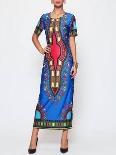 #AdoreWe #FashionMia Maxi Dresses - FashionMia Printed Tribal Extraordinary Round Neck Maxi-dress - AdoreWe.com
