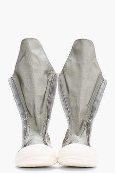 RICK OWENS DRKSHDW Silver Nylon Very High-Top Sneakers