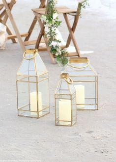 Decorative Glass Candle Lantern in Gold - Tall Floor Lanterns, Gold Lanterns, Wedding Lanterns, Lanterns Decor, Candle Lanterns, Light Decorations, Glass Candle, Winter Wedding Centerpieces, Lantern Centerpieces