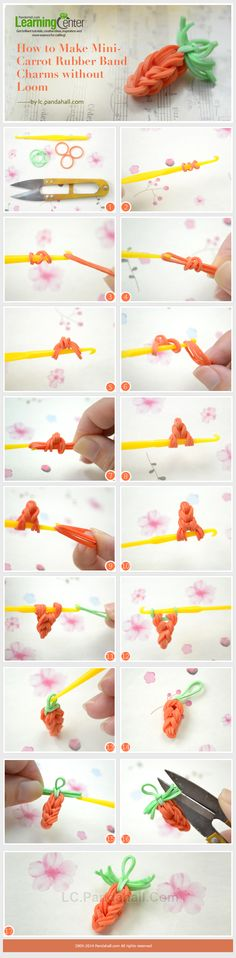 How to Make Mini-Carrot Rubber Band Charms without Loom