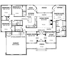 Floor Plans AFLFPW17698   1 Story Ranch Home with 4 Bedrooms  2 Bathrooms  and 2 1442500 sq ft one level 4 bedroom house plans   House Plan   Four  . One Story 4 Bedroom House Plans. Home Design Ideas