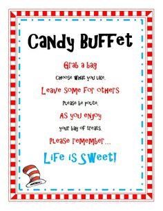 Dr Seuss Baby Shower Ideas | candy buffet sayings for baby shower | Dr Seuss Birthday Baby Shower ...