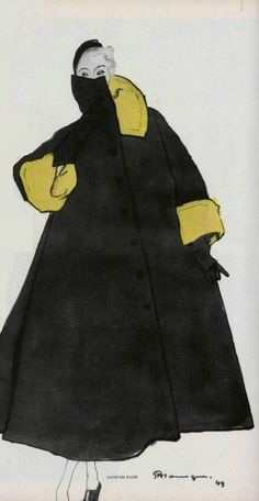 Coat from Jacques Fath (1949) illustrated by  French artist Pierre Mourgue. Nicely cropped. via Hprints