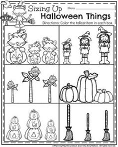 Halloween Preschool Worksheets for October - Measurement and coloring. Halloween Theme Preschool, Halloween Worksheets, Theme Halloween, Fall Preschool, Preschool Lessons, Preschool Classroom, Preschool Learning, In Kindergarten, Preschool Activities
