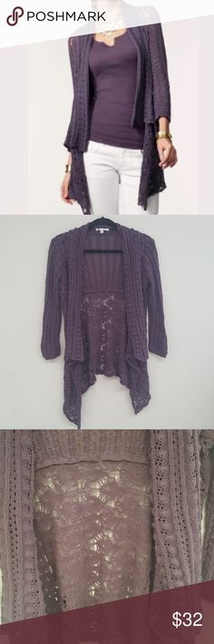 "CAbi Plum Timeless Open Front Lace Cardigan -Great condition   -Womens medium   -100% cotton   -Bust: 20"" Sleeves: 19"" Length: 27""  -No trades or modeling, offers welcome!  Thanks for looking! CAbi Sweaters Cardigans"