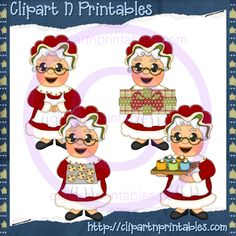 Mrs Claus 2012- #Clipart #ResellableClipart #ResellerClipart #Christmas #Santa #SantaClaus #Cookies  #Gifts #Presents #HotChocolate #HotCocoa