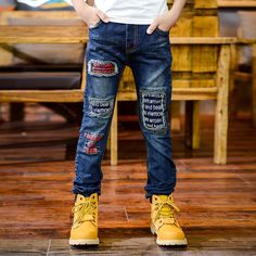 New Design high-quality 2016  Autumn Boy Fashion Denim Jeans,Casual  Letter Cartoon Character Long Pants Trousers Kids Clothing