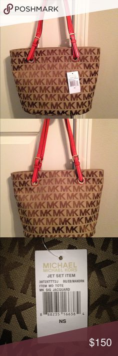 Michael Kors MK Signature Jacquard Medium Tote Brand new, never used, still has inner packaging and tag. Straps are scarlet/mandarin orange-colored Michael Kors Bags Totes