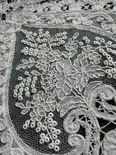 Extraordinary Huge Length Antique Hand Made Brussels Mixed Point de Gaze Lace | eBay