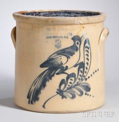 "New York Stoneware Co. Cobalt Bird-on-a-Sprig-decorated Three-Gallon Stoneware Crock, ""Fort Edward, N.Y.,"""
