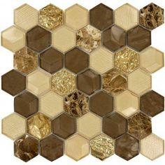 Wooden Hornet Hexagon Brown Glossy Glass & Stone Tile