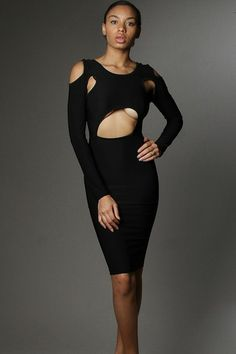Sexy All Over Cutout Long Sleeve Knee Length Dress