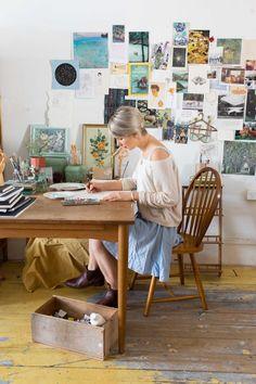 Marianna Marx, Australian Illustrator, works in her rented studio above Brunswick Street, Fitzroy.