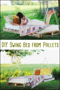 A couple of used pallets, rope, place to hang your swing bed on, a fitting mattress, and you have your own pallet swing bed!