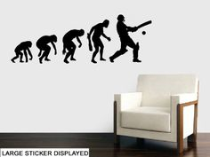 Evolution Of Cricket Wall Art Vinyl Stickers - Please Choose Your Size & Colour Using The Menu Below - Large - 114Cm X 40Cm Azure Blue