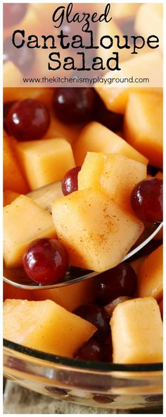 Cantaloupe Salad Glazed with Maple & Cinnamon ~ it's one very simple, surprisingly delicious, amazingly tasty little fruit salad. Cantaloupe Recipes, Radish Recipes, Fruit Salad Recipes, Fruit Dips, Jello Salads, Fruit Fruit, Fruit Platters, Fruit Cakes, Cinnamon