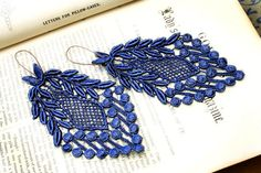 lace earrings VERONICA cobalt blue by tinaevarenee on Etsy, $22.00